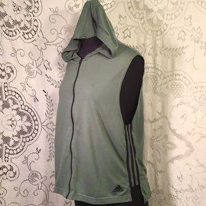 Adidas, Knit, Zip Up Sleeveless Hoodie